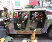A day the Thai Army would rather forget, humiliated by red-shirt protestors, the troops fled, abandoning thei equipment after first causing chaos
