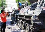 Songkran 2010 was hardly the Thai Army's finest hour abandoned Armored Personnel Carriers destroyed by the hands of red-shirt protesters