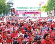Ratchaprasong intersection in the heart of Bangkok a sea of red-shirt protesters during Songkran 2010