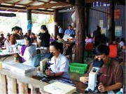 Field microscopy along the Thailand-Burma border. Photo: Courtesy SMRU